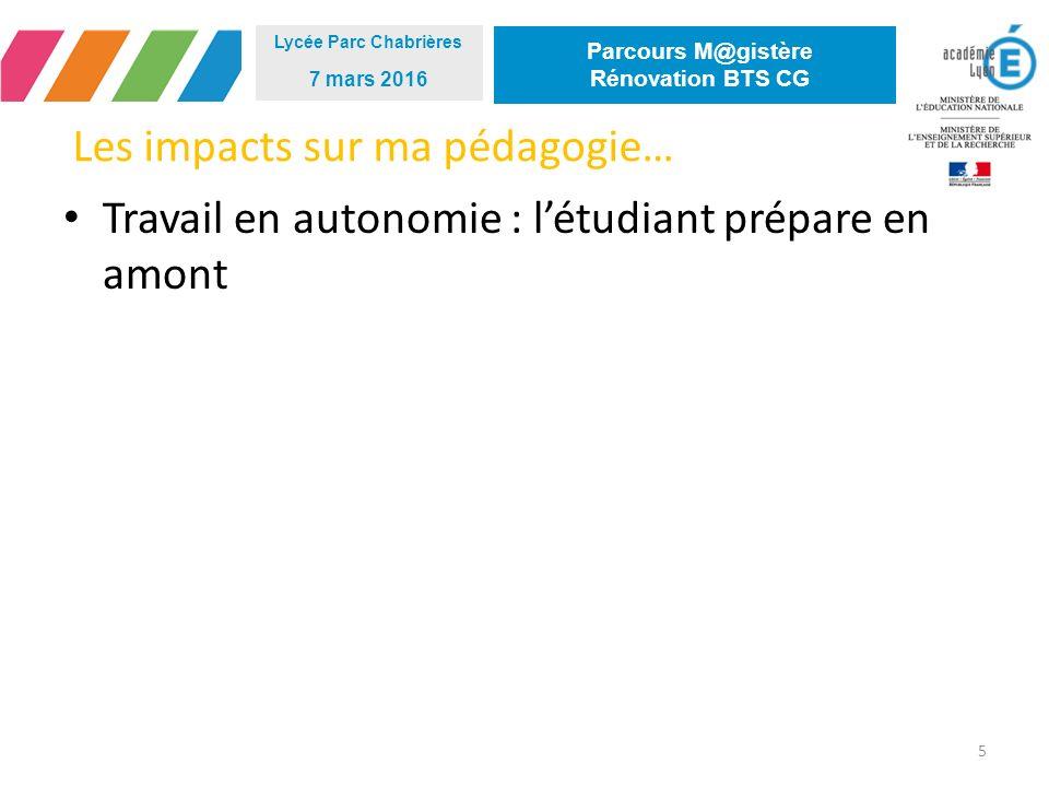 Les impacts sur ma pédagogie… 5 Lycée Parc Chabrières 7 mars 2016 Parcours M@gistère Rénovation BTS CG Travail en autonomie : l'étudiant prépare en amont