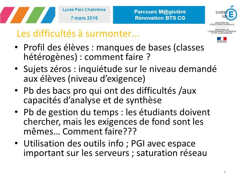Les difficultés à surmonter… 6 Lycée Parc Chabrières 7 mars 2016 Parcours M@gistère Rénovation BTS CG Profil des élèves : manques de bases (classes hétérogènes) : comment faire .