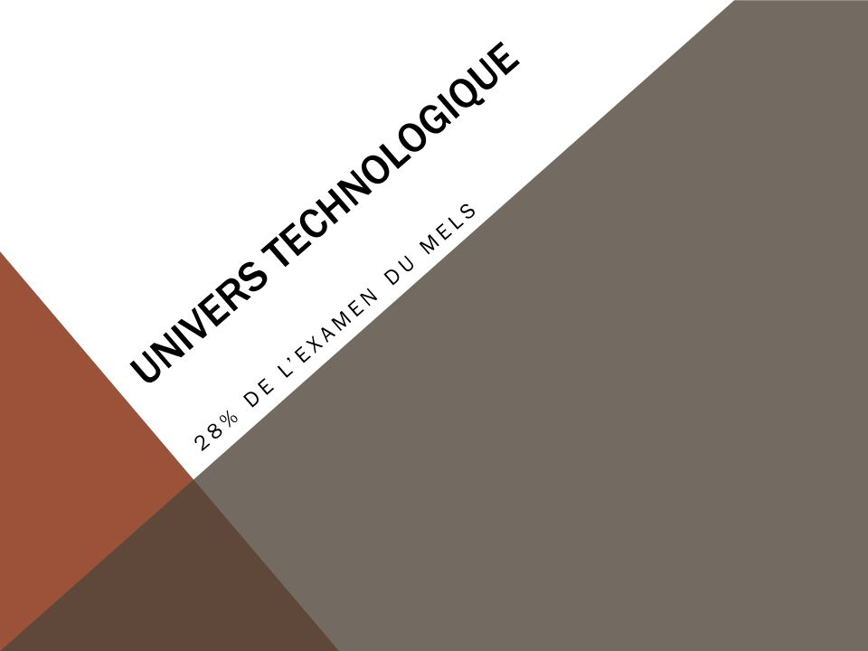 UNIVERS TECHNOLOGIQUE 28% DE L'EXAMEN DU MELS