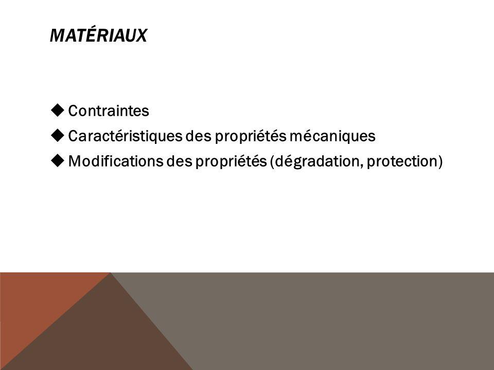 MATÉRIAUX  Contraintes  Caractéristiques des propriétés mécaniques  Modifications des propriétés (dégradation, protection)