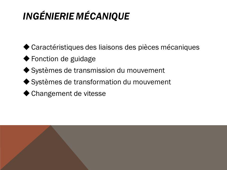 INGÉNIERIE MÉCANIQUE  Caractéristiques des liaisons des pièces mécaniques  Fonction de guidage  Systèmes de transmission du mouvement  Systèmes de transformation du mouvement  Changement de vitesse