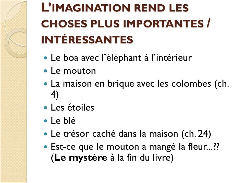L' IMAGINATION REND LES CHOSES PLUS IMPORTANTES / INTÉRESSANTES Le boa avec l'éléphant à l'intérieur Le mouton La maison en brique avec les colombes (ch.