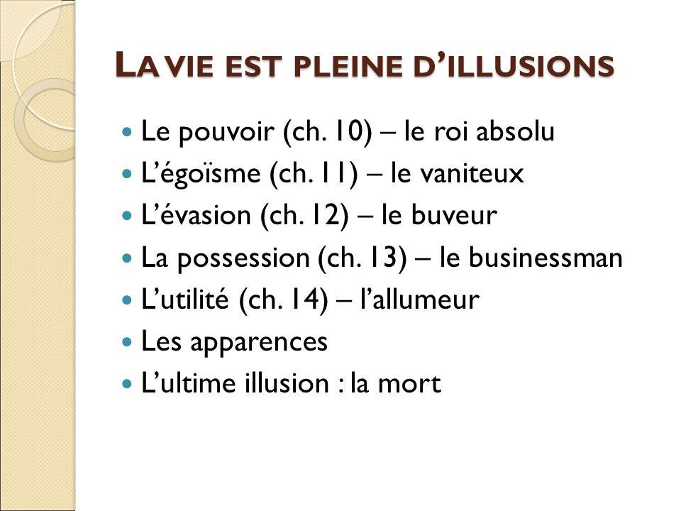 L A VIE EST PLEINE D ' ILLUSIONS Le pouvoir (ch. 10) – le roi absolu L'égoïsme (ch.