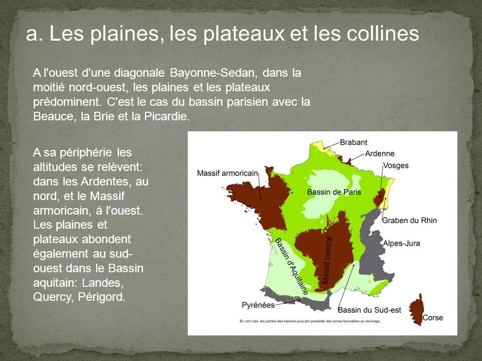 a. Les plaines, les plateaux et les collines A l'ouest d'une diagonale Bayonne-Sedan, dans la moitié nord-ouest, les plaines et les plateaux prédomine