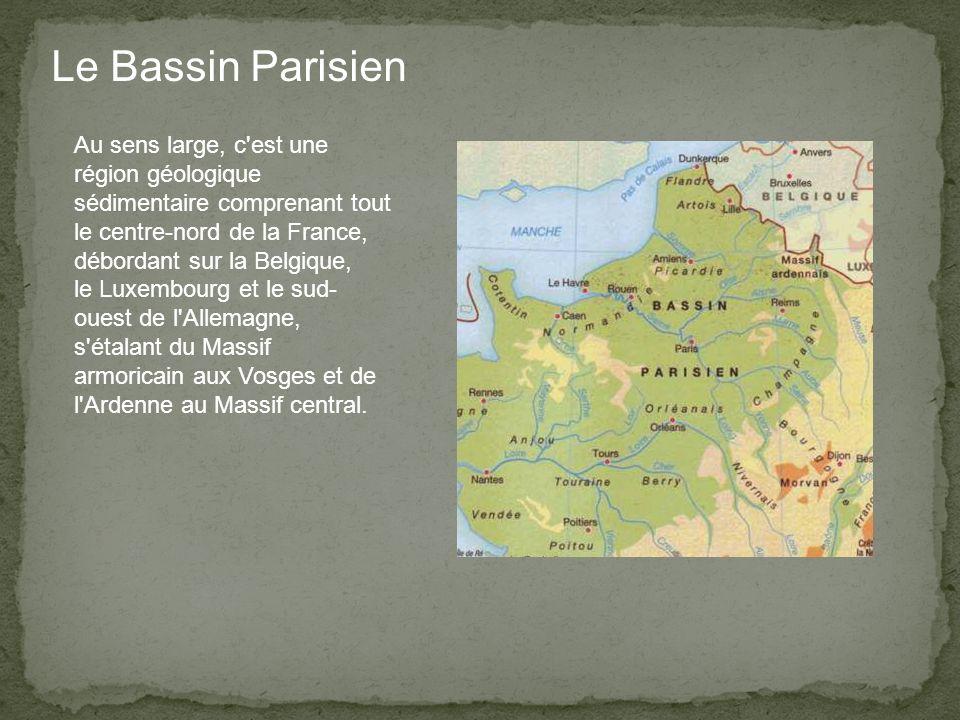 Le Bassin Parisien Au sens large, c est une région géologique sédimentaire comprenant tout le centre-nord de la France, débordant sur la Belgique, le Luxembourg et le sud- ouest de l Allemagne, s étalant du Massif armoricain aux Vosges et de l Ardenne au Massif central.