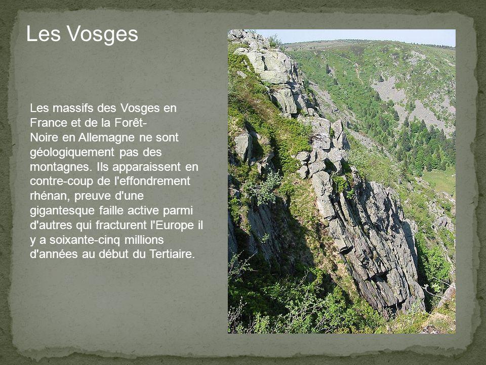 Les massifs des Vosges en France et de la Forêt- Noire en Allemagne ne sont géologiquement pas des montagnes.
