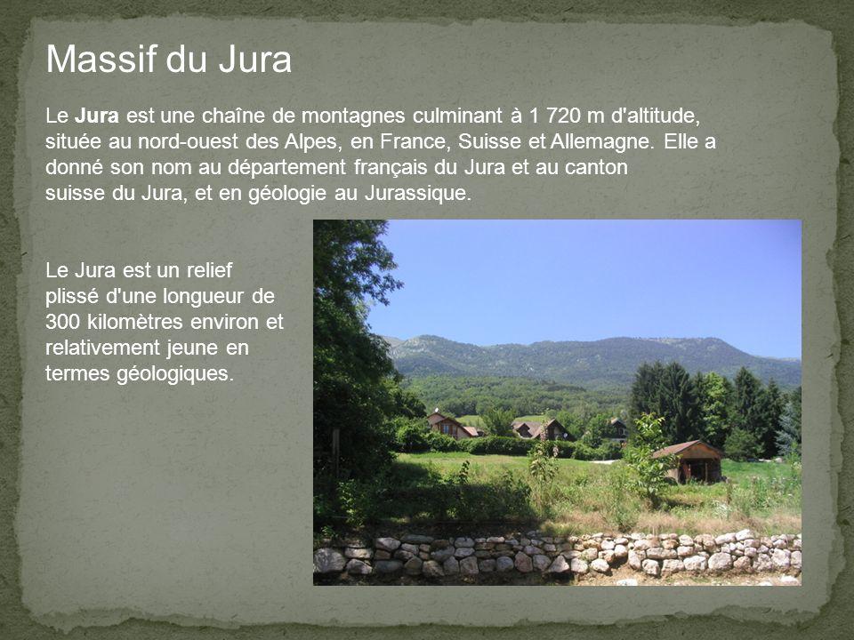 Massif du Jura Le Jura est une chaîne de montagnes culminant à 1 720 m d altitude, située au nord-ouest des Alpes, en France, Suisse et Allemagne.