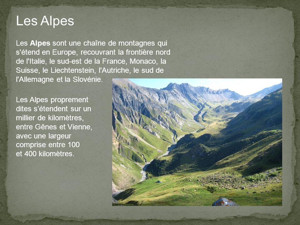 Les Alpes sont une chaîne de montagnes qui s étend en Europe, recouvrant la frontière nord de l Italie, le sud-est de la France, Monaco, la Suisse, le Liechtenstein, l Autriche, le sud de l Allemagne et la Slovénie.