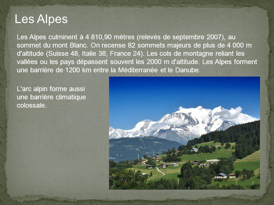 Les Alpes culminent à 4 810,90 mètres (relevés de septembre 2007), au sommet du mont Blanc.