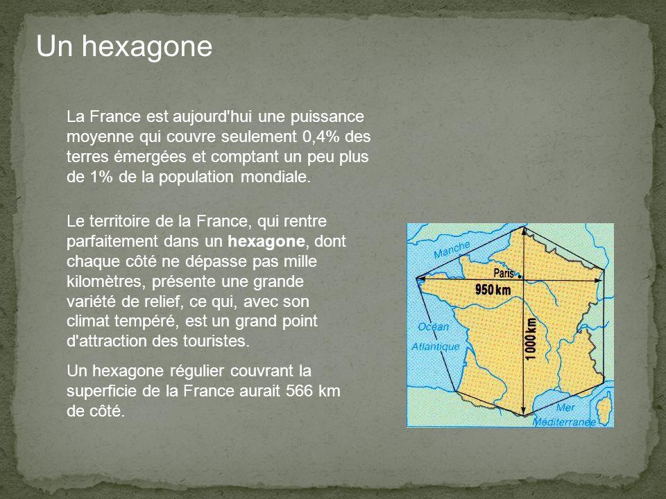 Un hexagone Le territoire de la France, qui rentre parfaitement dans un hexagone, dont chaque côté ne dépasse pas mille kilomètres, présente une grande variété de relief, ce qui, avec son climat tempéré, est un grand point d attraction des touristes.