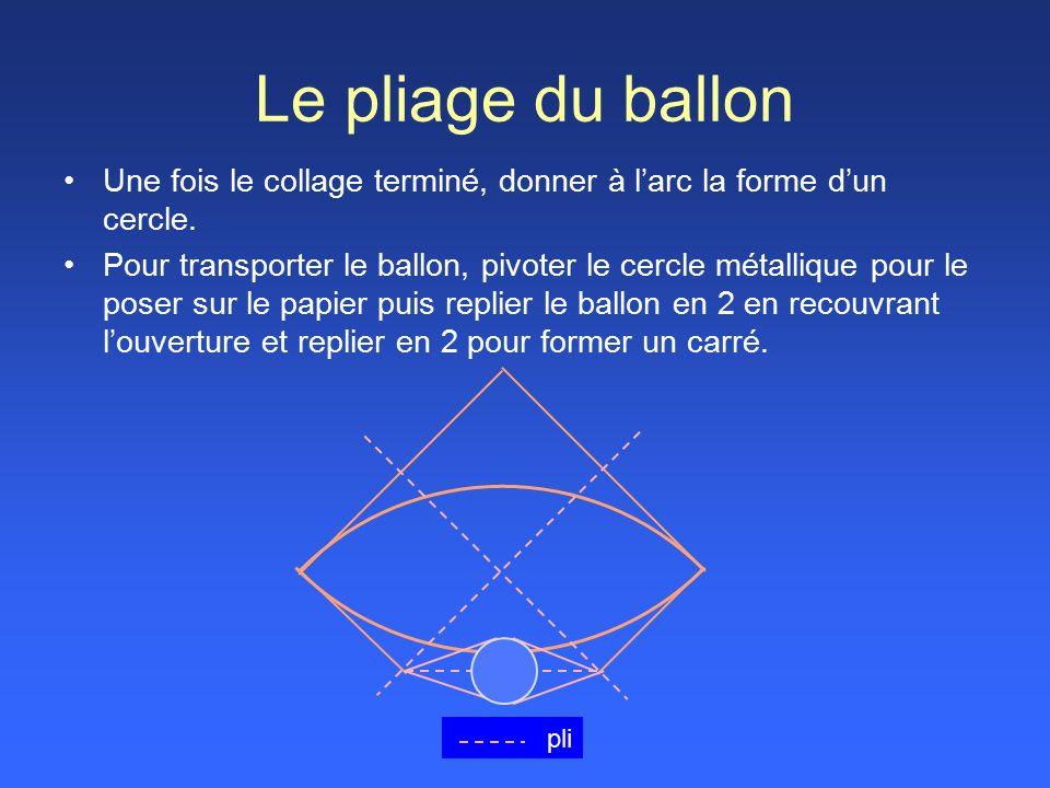 Le pliage du ballon Une fois le collage terminé, donner à l'arc la forme d'un cercle.