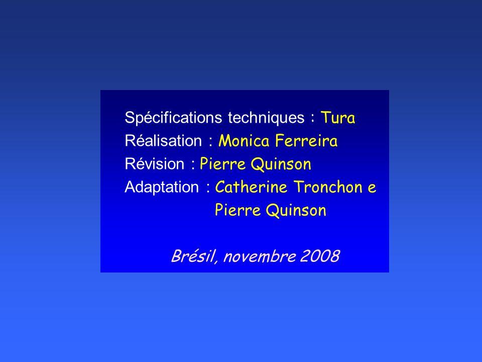 Spécifications techniques : Tura Réalisation : Monica Ferreira Révision : Pierre Quinson Adaptation : Catherine Tronchon e Pierre Quinson Brésil, novembre 2008