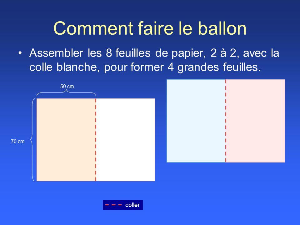 Comment faire le ballon Assembler les 8 feuilles de papier, 2 à 2, avec la colle blanche, pour former 4 grandes feuilles.
