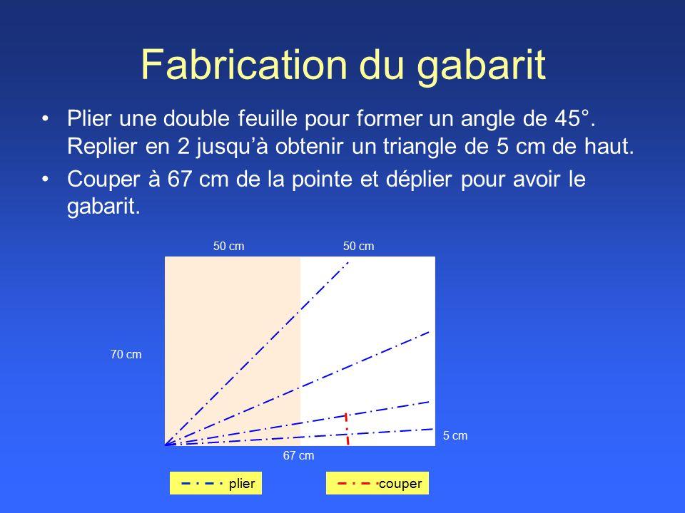 Fabrication du gabarit Plier une double feuille pour former un angle de 45°.