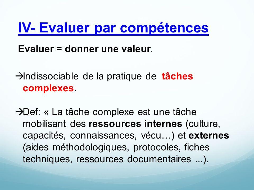 IV- Evaluer par compétences  Indissociable de la pratique de tâches complexes.