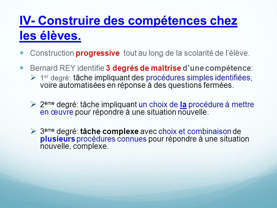 IV- Construire des compétences chez les élèves.