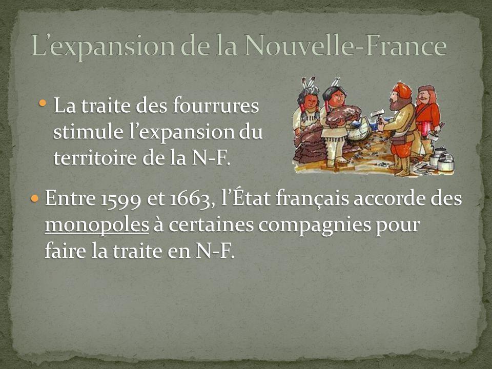 Entre 1599 et 1663, l'État français accorde des monopoles à certaines compagnies pour faire la traite en N-F.