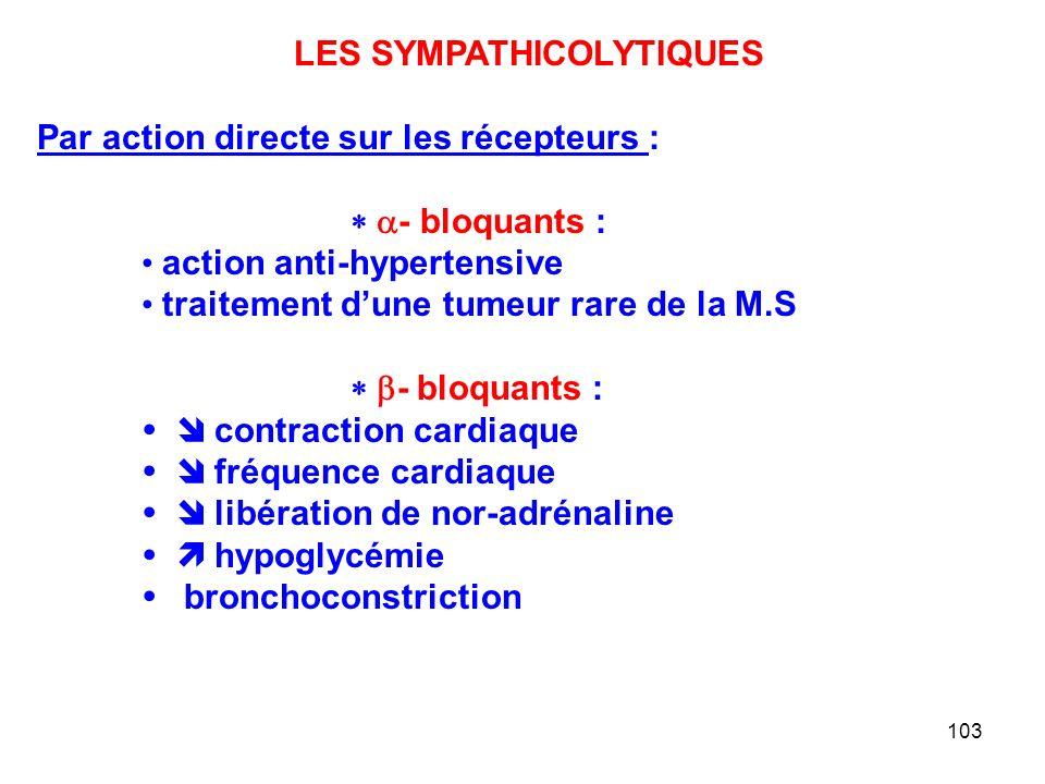 103 LES SYMPATHICOLYTIQUES Par action directe sur les récepteurs :  - bloquants : action anti-hypertensive traitement d'une tumeur rare de la M.S  - bloquants :    contraction cardiaque    fréquence cardiaque    libération de nor-adrénaline    hypoglycémie   bronchoconstriction
