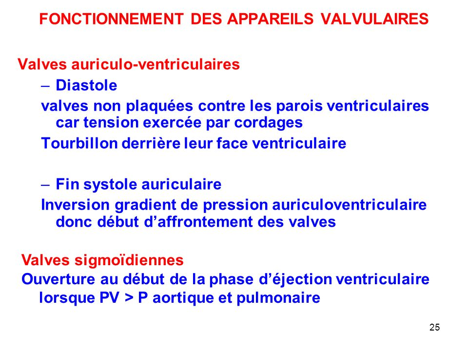 25 FONCTIONNEMENT DES APPAREILS VALVULAIRES Valves auriculo-ventriculaires –Diastole valves non plaquées contre les parois ventriculaires car tension exercée par cordages Tourbillon derrière leur face ventriculaire –Fin systole auriculaire Inversion gradient de pression auriculoventriculaire donc début d'affrontement des valves Valves sigmoïdiennes Ouverture au début de la phase d'éjection ventriculaire lorsque PV > P aortique et pulmonaire
