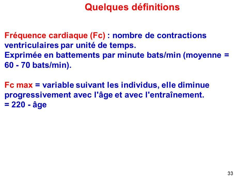 33 Fréquence cardiaque (Fc) : nombre de contractions ventriculaires par unité de temps.