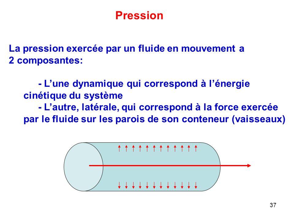 37 La pression exercée par un fluide en mouvement a 2 composantes: - L'une dynamique qui correspond à l'énergie cinétique du système - L'autre, latérale, qui correspond à la force exercée par le fluide sur les parois de son conteneur (vaisseaux) Pression