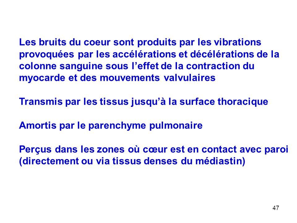 47 Les bruits du coeur sont produits par les vibrations provoquées par les accélérations et décélérations de la colonne sanguine sous l'effet de la contraction du myocarde et des mouvements valvulaires Transmis par les tissus jusqu'à la surface thoracique Amortis par le parenchyme pulmonaire Perçus dans les zones où cœur est en contact avec paroi (directement ou via tissus denses du médiastin)