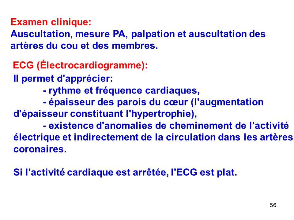 56 Examen clinique: Auscultation, mesure PA, palpation et auscultation des artères du cou et des membres.
