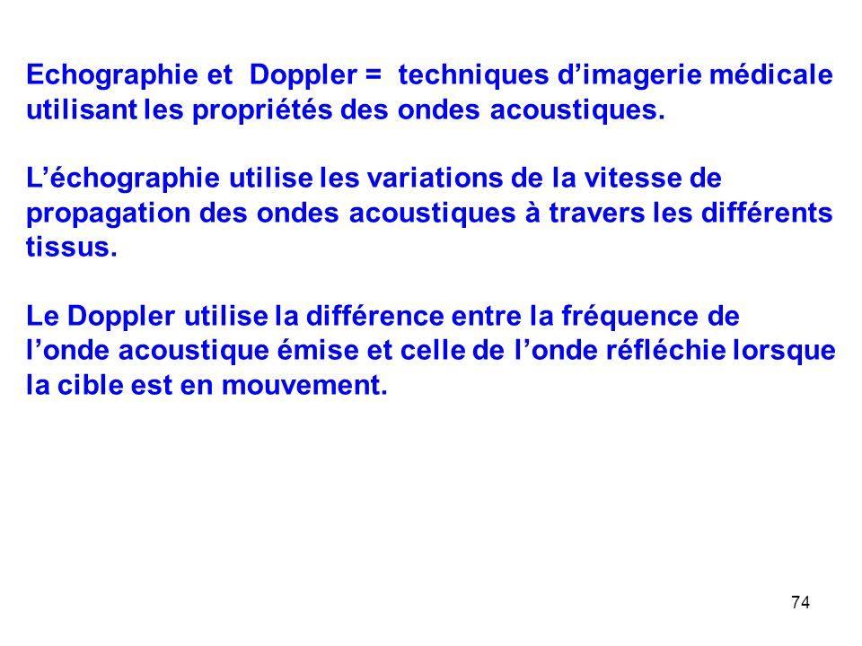 74 Echographie et Doppler = techniques d'imagerie médicale utilisant les propriétés des ondes acoustiques.
