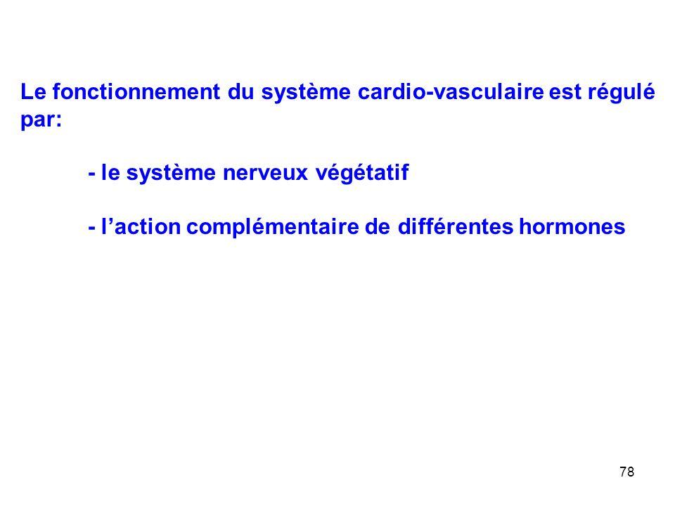 78 Le fonctionnement du système cardio-vasculaire est régulé par: - le système nerveux végétatif - l'action complémentaire de différentes hormones