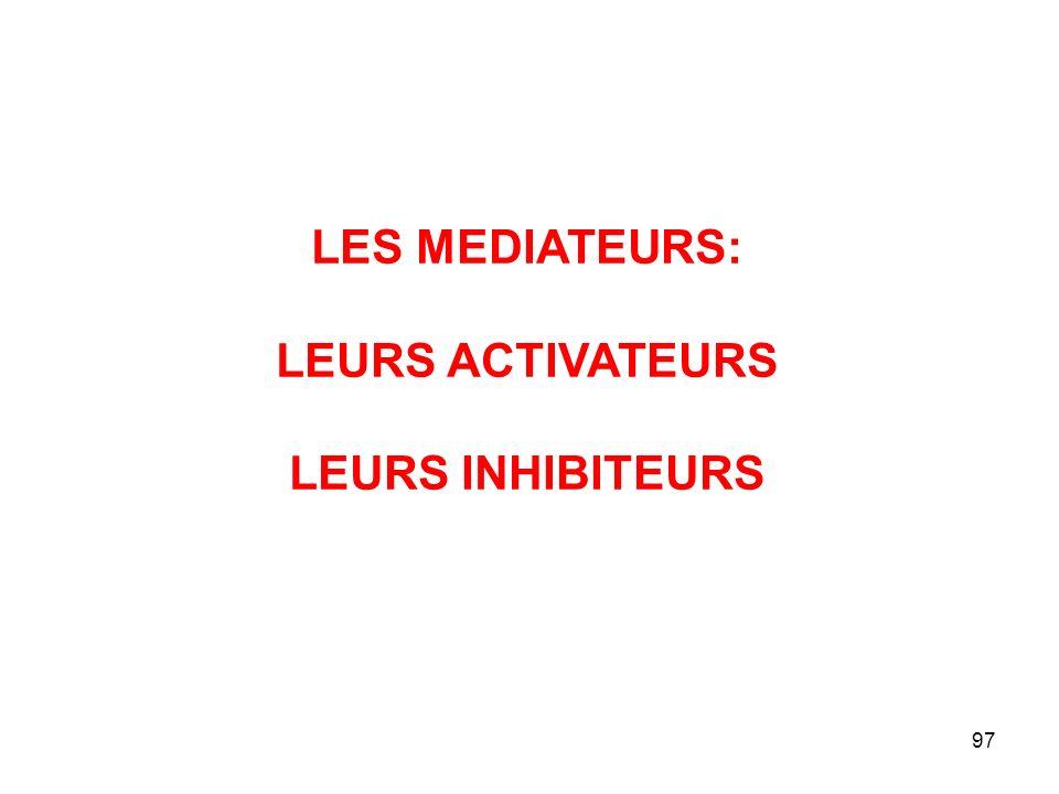 97 LES MEDIATEURS: LEURS ACTIVATEURS LEURS INHIBITEURS
