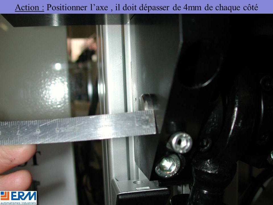 Action : Positionner l'axe, il doit dépasser de 4mm de chaque côté