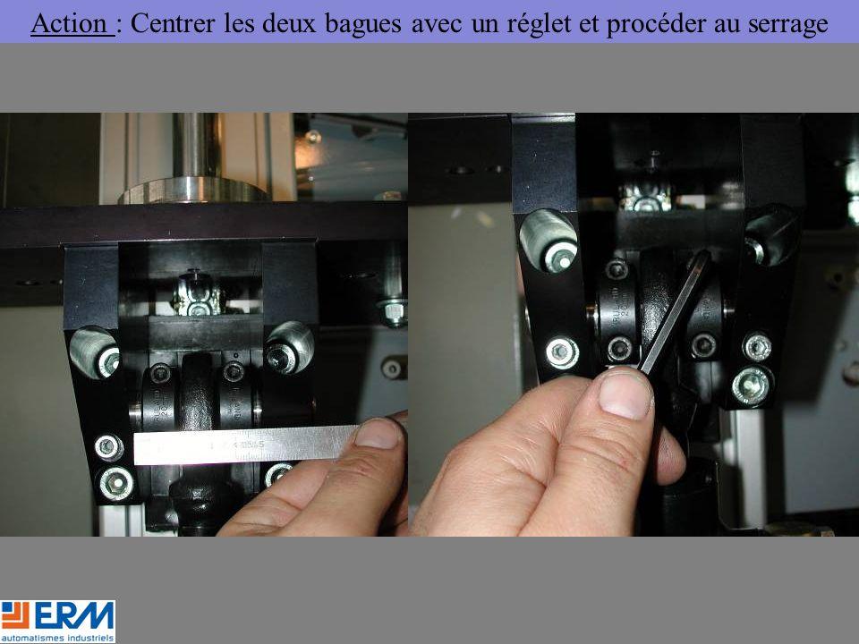 Action : Centrer les deux bagues avec un réglet et procéder au serrage