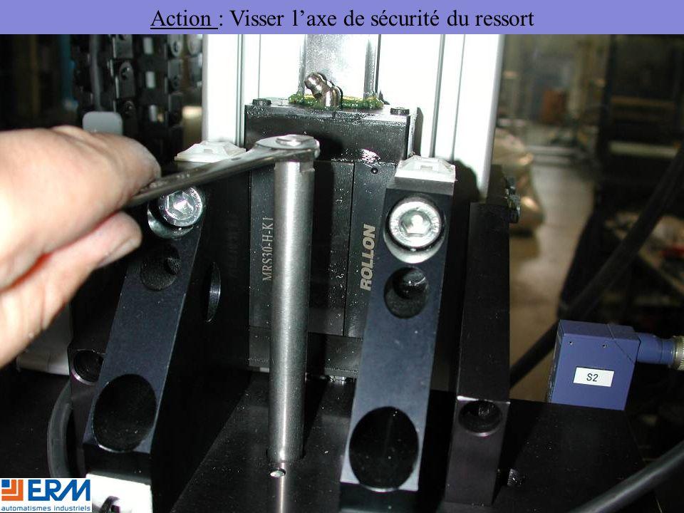 Action : Visser l'axe de sécurité du ressort
