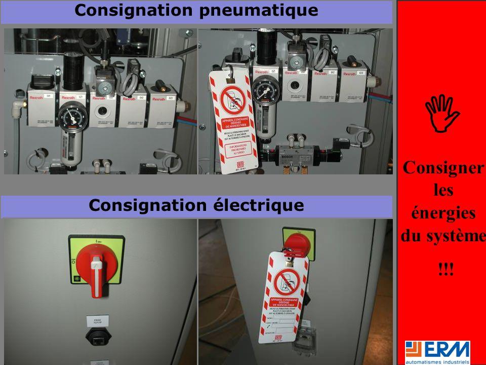 Consigner les énergies du système !!! Consignation pneumatique Consignation électrique