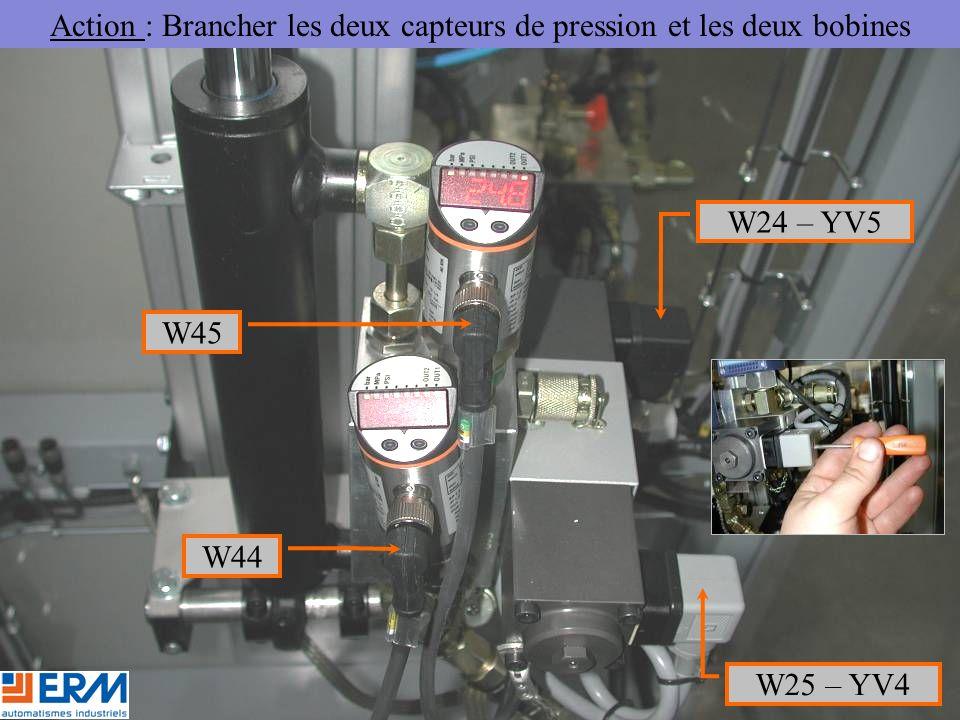Action : Brancher les deux capteurs de pression et les deux bobines W44 W45 W24 – YV5 W25 – YV4