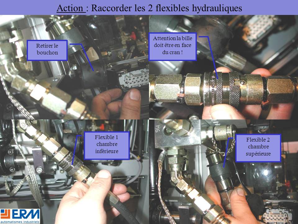 Action : Raccorder les 2 flexibles hydrauliques Retirer le bouchon Attention la bille doit être en face du cran .