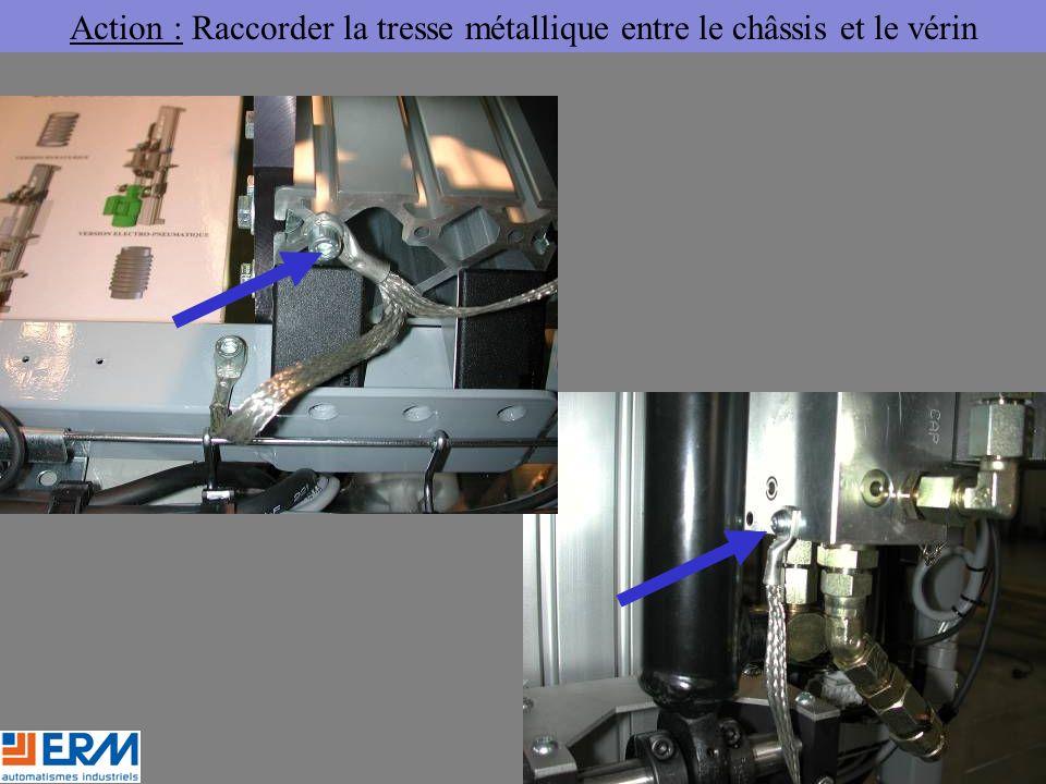 Action : Raccorder la tresse métallique entre le châssis et le vérin