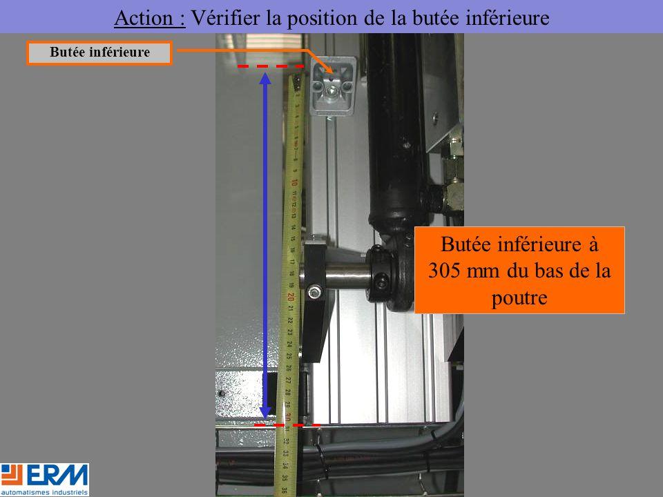 Action : Vérifier la position de la butée inférieure Butée inférieure à 305 mm du bas de la poutre Butée inférieure