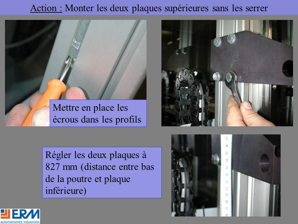 Action : Monter les deux plaques supérieures sans les serrer Mettre en place les écrous dans les profils Régler les deux plaques à 827 mm (distance entre bas de la poutre et plaque inférieure)