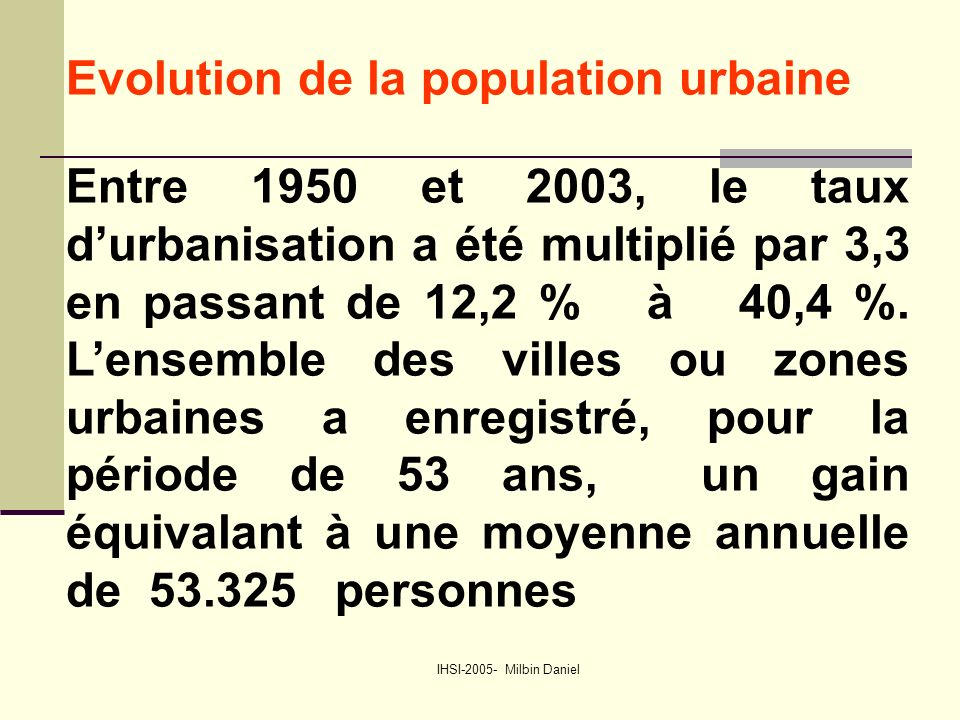 IHSI-2005- Milbin Daniel Evolution de la population urbaine Entre 1950 et 2003, le taux d'urbanisation a été multiplié par 3,3 en passant de 12,2 % à 40,4 %.
