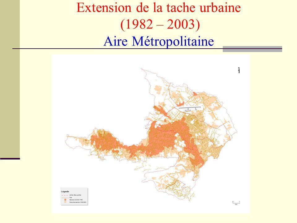 Extension de la tache urbaine (1982 – 2003) Aire Métropolitaine