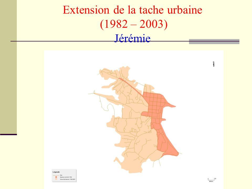 IHSI-2005- Milbin Daniel Extension de la tache urbaine (1982 – 2003) Jérémie