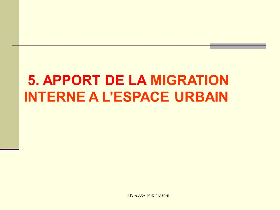IHSI-2005- Milbin Daniel 5. APPORT DE LA MIGRATION INTERNE A L'ESPACE URBAIN