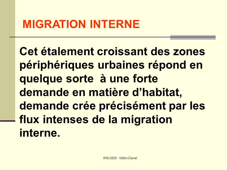 IHSI-2005- Milbin Daniel MIGRATION INTERNE Cet étalement croissant des zones périphériques urbaines répond en quelque sorte à une forte demande en matière d'habitat, demande crée précisément par les flux intenses de la migration interne.