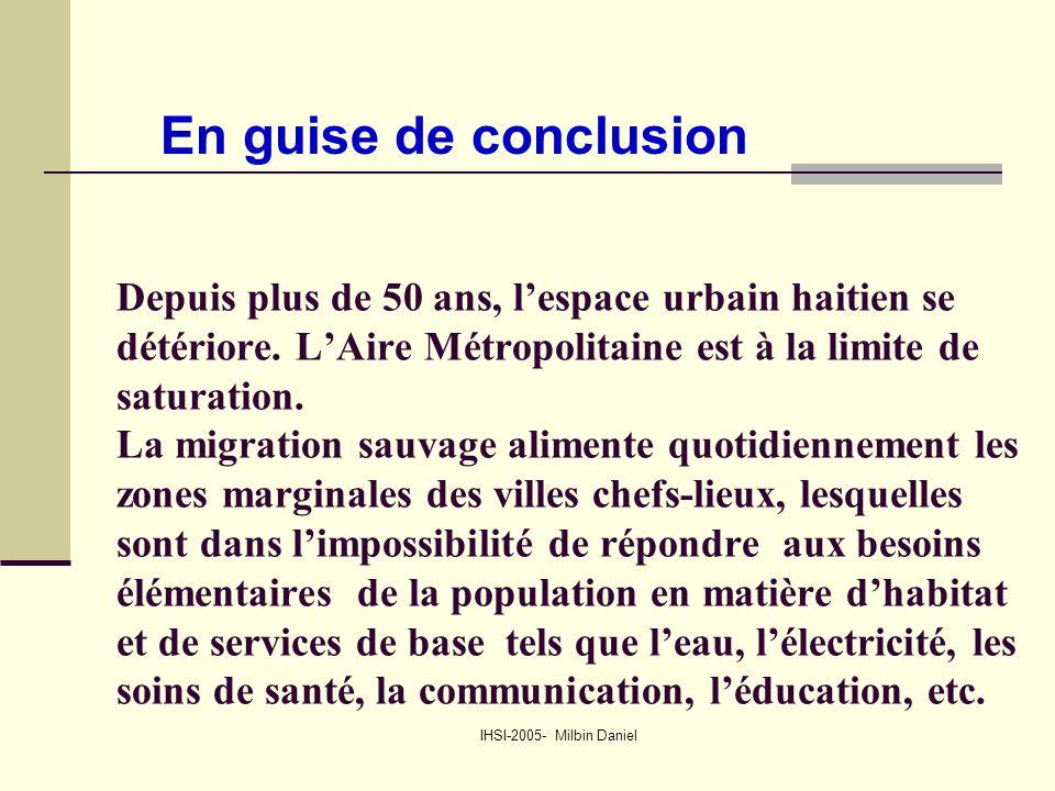 IHSI-2005- Milbin Daniel Depuis plus de 50 ans, l'espace urbain haitien se détériore.