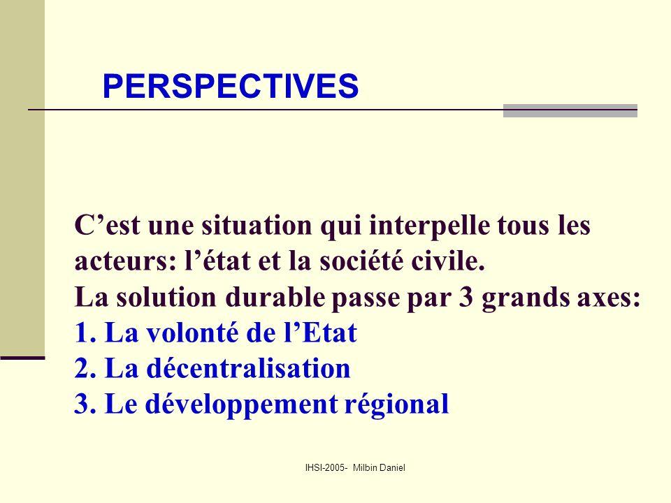 IHSI-2005- Milbin Daniel C'est une situation qui interpelle tous les acteurs: l'état et la société civile.