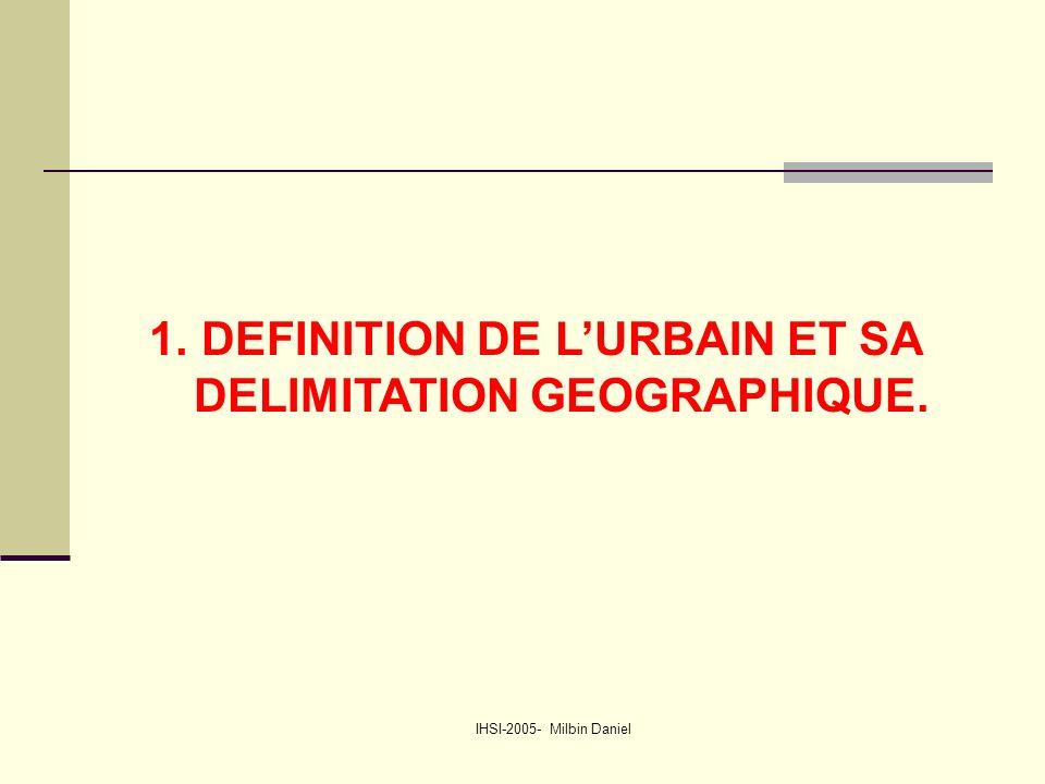 IHSI-2005- Milbin Daniel 1.DEFINITION DE L'URBAIN ET SA DELIMITATION GEOGRAPHIQUE.