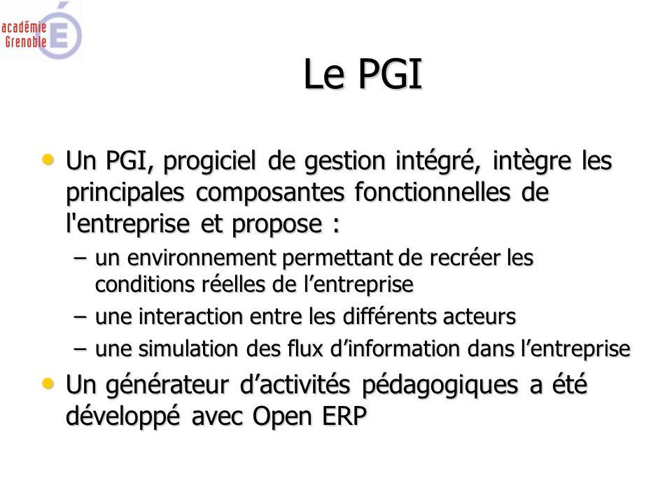 Le PGI Un PGI, progiciel de gestion intégré, intègre les principales composantes fonctionnelles de l entreprise et propose : Un PGI, progiciel de gestion intégré, intègre les principales composantes fonctionnelles de l entreprise et propose : –un environnement permettant de recréer les conditions réelles de l'entreprise –une interaction entre les différents acteurs –une simulation des flux d'information dans l'entreprise Un générateur d'activités pédagogiques a été développé avec Open ERP Un générateur d'activités pédagogiques a été développé avec Open ERP