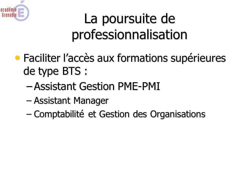 La poursuite de professionnalisation Faciliter l'accès aux formations supérieures de type BTS : Faciliter l'accès aux formations supérieures de type BTS : –Assistant Gestion PME-PMI –Assistant Manager –Comptabilité et Gestion des Organisations