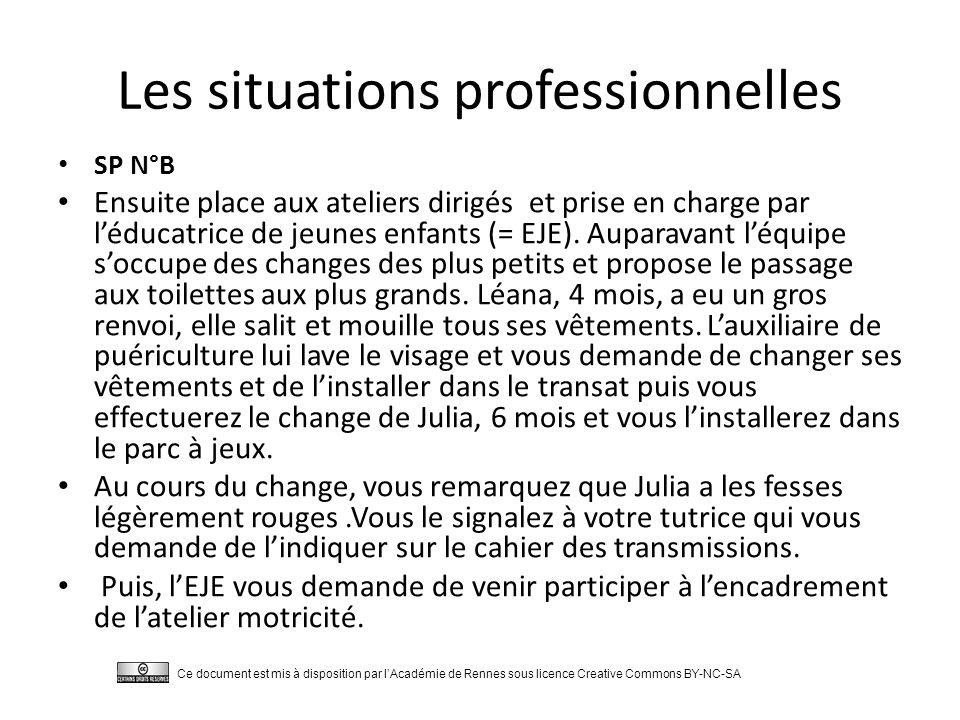 Les situations professionnelles SP N°B Ensuite place aux ateliers dirigés et prise en charge par l'éducatrice de jeunes enfants (= EJE).